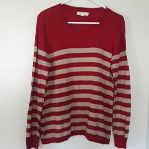 RED STRPPED SWEATER